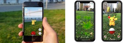 Pokémon Go's original AR mode (left) wasn't really AR. But nobody really cared much when real AR was introduced (right)