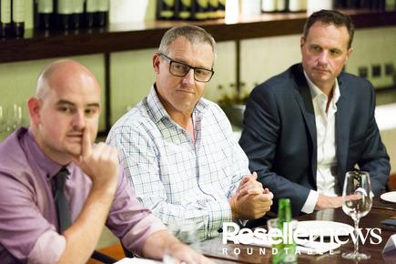James Henderson (Reseller News); Stuart Alexander (Origin IT) and Greg Sharp (Base-2)
