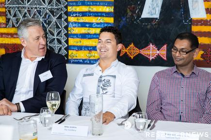 Warren Nolan (Rhipe); Mike Jenkins (The Instillery) and Waruna Kirimetiyawa (Lancom Technology)