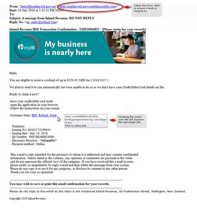 Scam email hitting Kiwi inboxes impersonating Inland Revenue