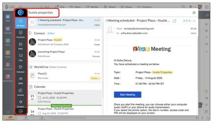 Zoho's cross-app search tool, Zia, allows users to quickly find relevant documents