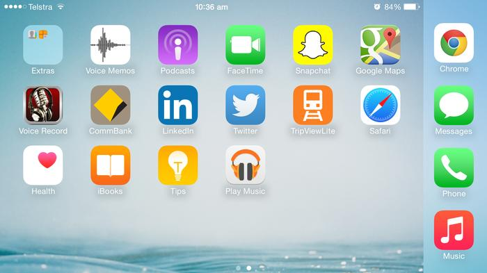The homescreen works in landscape orientation for the 6 Plus
