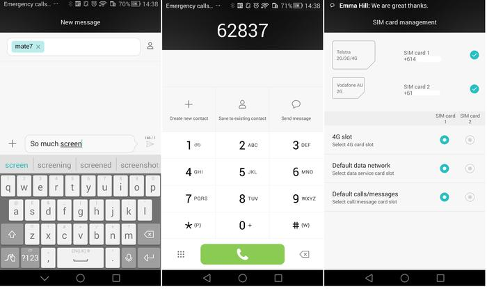 Messages, dialler and dual SIM settings