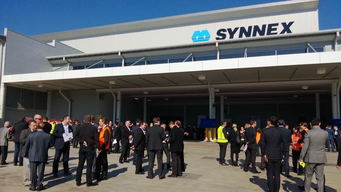 Attendees networking nearby the loading docks of Synnex's new Lidcombe facility.