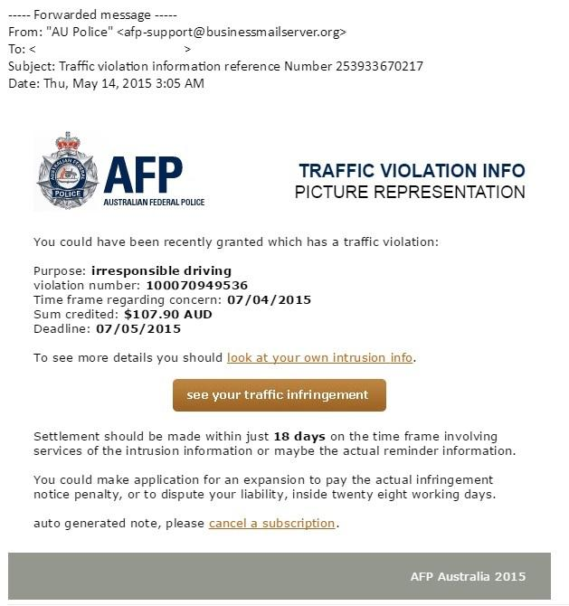 An Example of the recent scam AFP email infringement notice that lead to victims having their files encrypted.
