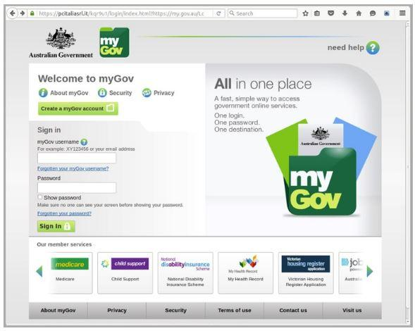 Example of the fake myGov site (MailGuard)