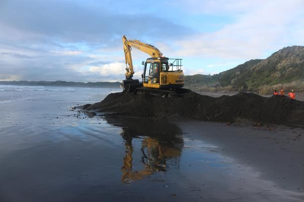 Digger breaks ground on Ngarunui Beach in Raglan to commence works on Tasman Global Access cable