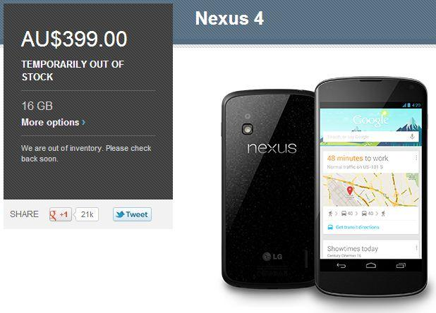 The current Google Play Store listing for the 16GB Nexus 4.