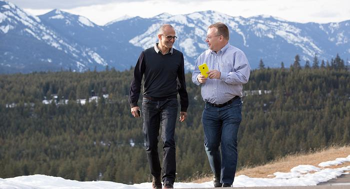 Elop's famous stroll with Microsoft CEO Satya Nadella