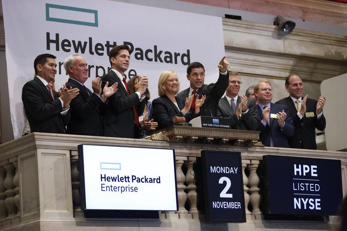 Meg Whitman - CEO, Hewlett Packard Enterprise, rings the opening bell of the New York Stock Exchange on November 2, 2015