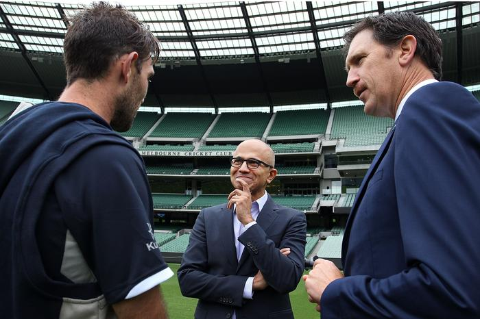 Satya Nadella - CEO, Microsoft and James Sutherland - CEO, Cricket Australia at Melbourne Cricket Ground