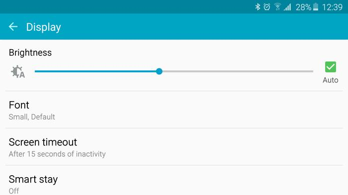 The display settings of a Samsung Galaxy S6 Edge
