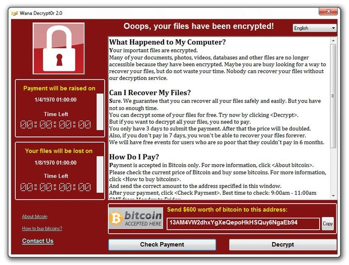 Ransom demand screen displayed by WannaCry Trojan (Image - Symantec Security Response)