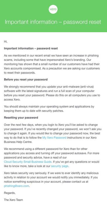 The email sent to Xero users in response to the breach